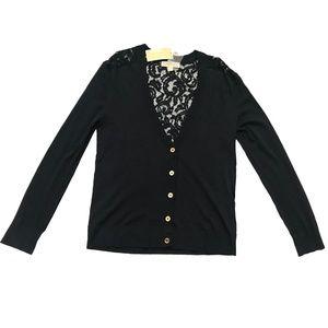 MICHAEL KORS Lace Back Cardigan Navy size: S